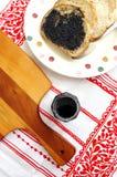 Bread with black sesame paste spread stock image