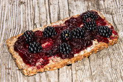 Bread with Blackberry Jam and fruits Stock Photo