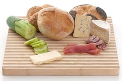 Bread, blue cheese and ham Royalty Free Stock Image