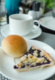 Bread with blueberry cheese pie with black coffee Royalty Free Stock Photography
