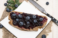 Bread with Blueberry Jam Royalty Free Stock Photo