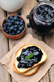 Bread with blueberry jam Royalty Free Stock Image