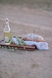 Bread and a bottle of oil Stock Photography