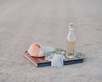 Bread and a bottle of oil Stock Image
