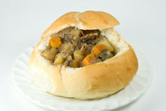 Bread bowl with beef stew. Stock Photo