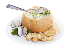 Bread Bowl soup. Clam chowder soup in bread bowl isolated on a white background Stock Images