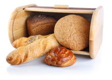Bread in breadbox Royalty Free Stock Images