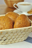 Bread for breakfast. Bread in the basket for breakfast and a cup of tea Stock Photos
