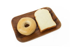 Bread for breakfast. Two bread for breakfast, on the wood tray Royalty Free Stock Photography