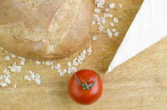 Bread, Brie Cheese And Tomato Closeup Royalty Free Stock Images