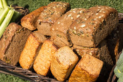Bread. In the brown basket on sunny day Stock Photo