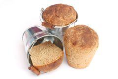Bread in a bucket Stock Image