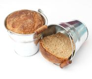 Bread in a bucket Royalty Free Stock Images