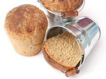 Bread in a bucket Royalty Free Stock Photography