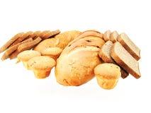 Bread and bun. On white background Stock Photos
