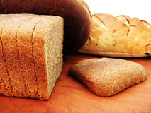 Bread and bun. On white background Stock Image