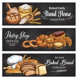 Bread and bun banner for bakery shop template. Bread blackboard banner set for bakery and pastry shop template. Fresh bread, baguette and croissant, bun, cupcake stock illustration