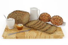 Bread, bun, cake, cookie, milk Royalty Free Stock Photo