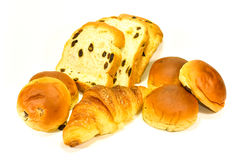 Bread, Bun and Croissant on White Background. Different kind of bread casting soft whadow on white background. Delicious Royalty Free Stock Photography