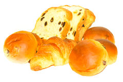 Bread, Bun and Croissant on White Background. Different kind of bread casting soft whadow on white background. Delicious Stock Photography