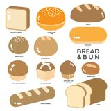 BREAD AND BUN. Different kinds of bread, bun and roll in golden color illustrated in simple graphic on white background stock illustration