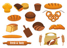 Bread and bun icon set for bakery, food design Stock Photography