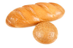 Bread and bun with sesame seeds Stock Images
