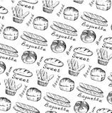 Bread and bun. Set of vector sketches royalty free illustration