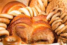 Bread, bun with sugar and drying Stock Images