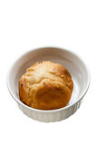 Bread bun in white ceramic on isolate background Royalty Free Stock Photography