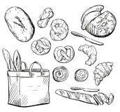 Bread. Buns. Baking. Vector illustration. Royalty Free Stock Photos