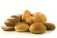 Bread and buns isolated Stock Photo