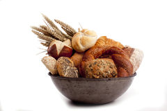 Bread and buns in an old  dish Stock Image