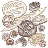 Bread, buns, pastries set. Bread products set - rye bread, ciabatta, white bread, whole-grain bread, croissant, French baguette, pretzel, donut, muffin isolated vector illustration