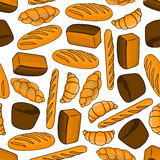 Bread and buns seamless pattern for bakery design Royalty Free Stock Photos