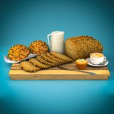 Bread and buns with sesame seeds Royalty Free Stock Images