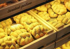 Bread buns in a supermarket Royalty Free Stock Photos