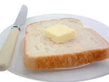 Bread and Butter. On a plate Royalty Free Stock Images