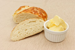 Bread and butter. Bread and buuter on a table stock photography