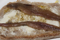 Bread , butter and anchovies Royalty Free Stock Photos