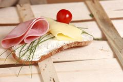 Bread And Butter, Cheese, Chives Stock Photos