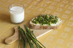 Bread with butter and chives royalty free stock image