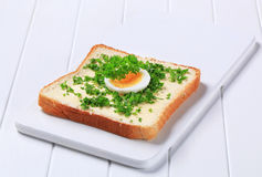 Bread with butter and chopped parsley Stock Photos
