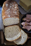Bread with butter and ham Stock Image