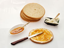 Bread with butter and jam Royalty Free Stock Photography