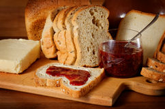 Bread, butter and jam Stock Photos