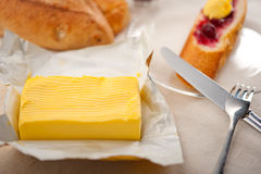 Bread butter and jam Stock Image