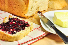 Bread, butter, and jam Royalty Free Stock Photo
