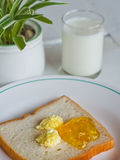 Bread butter jam on white plate Royalty Free Stock Photos