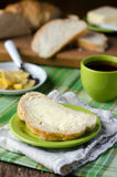 Bread with butter and lemon for Breakfast Stock Photos